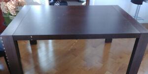 Table de salle a manger extensible en bois Wengé  Calligaris
