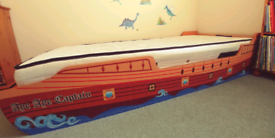Full size single 3ft wooden kids pirate bed and sprung mattress