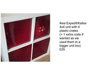 Expedit/Kallax 4x4 cube + red boxes