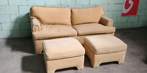 Comfy Yellow Couch Sofa with Pull Out Bed & 2 Matching Ottomans