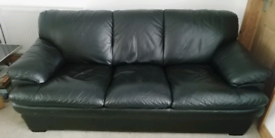 Covid safe. Allders Black Leather 3+2 seater sofa set