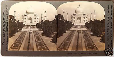 Keystone Stereoview of THE TAJ MAHAL, Agra, INDIA  From a 72 Card Set
