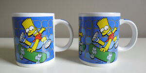 The Simpsons Bart Simpson Mugs Cups Set of Two 2006
