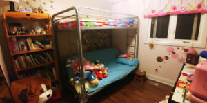 2 + 1 kids bunk bed futon couch to  double bed combo