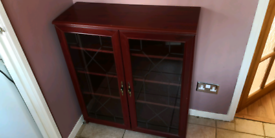 Red Wood Cabinet with Glass Doors (3 Shelves) (OX4 Oxford)