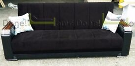 **14-DAY MONEY BACK GUARANTEE!*Talbot Luxury Fabric Sofabed in Black or Brown - SAME DAY DELIVERY!