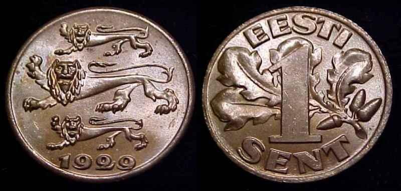 ESTONIA 1929 1 Sent Ch BN UNC
