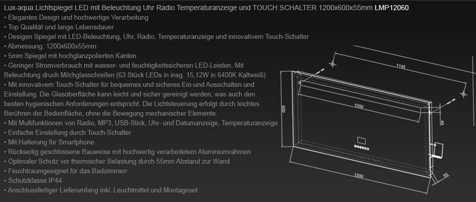 badspiegel led beleuchtung uhr radio mp3 und touch schalter 120x60cm lmp12060 eur 329 00. Black Bedroom Furniture Sets. Home Design Ideas