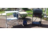 Gas barbecue and fold up picnic table