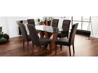 NEW Harveys set of 4 Modern Dining Chairs Piston Brown