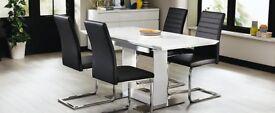 Brand New Nova Extending White High-Gloss Dining Table