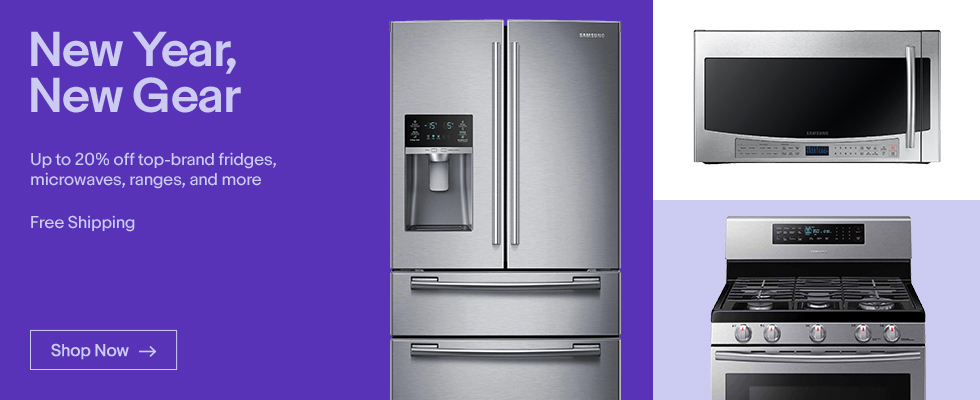 New Year, New Gear | Up to 20% off top-brand fridges, microwaves, ranges, and more | Shop Now