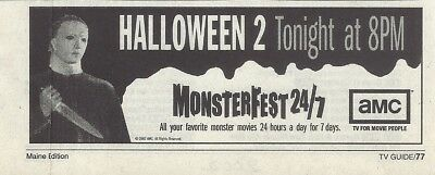 2002 HALLOWEEN 2 TV GUIDE AD CLIPPING MONSTERFEST 24/7](Halloween Tv Clips)