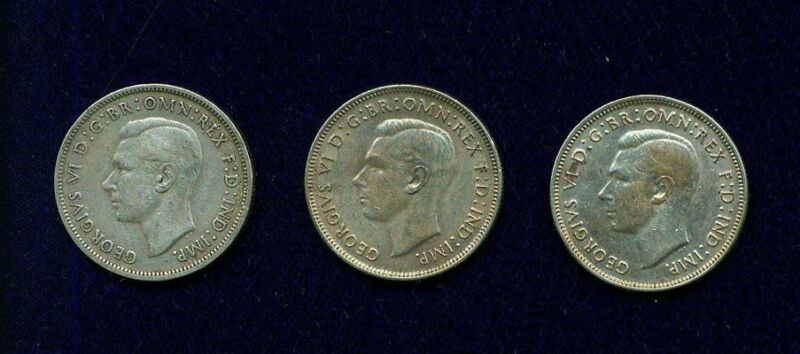 AUSTRALIA  GEORGE VI 1938 & 1943 1 FLORIN SILVER COINS  VF+ TO XF/AU, LOT OF (3)