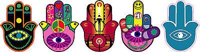 "HAMESH HAMSA HAND AMULET EVIL EYE STICKER COLLECTION OF FIVE 4""X5"" STICKERS"