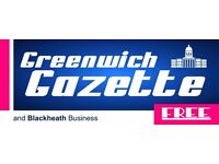 Distributors Wanted for FREE Greenwich Gazette Newspaper South East London, Blackheath, SE78910
