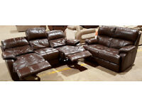 3 + 2 Seater Genuine Leather Recliner Sofas - Chocolate.