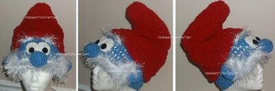 CUSTOM Boutique CROCHETED PAPA SMURF Hat Beanie Halloween - Papa Smurf Halloween Costume