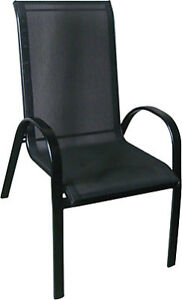 6 Stackable Patio Sling Back Chairs