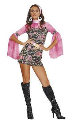 Hippie Kleid Damen Kostüm in M 38 / 40 sexy Hippie Go Go Girl Discoqueen (Hippie Girl Sexy Kostüm)