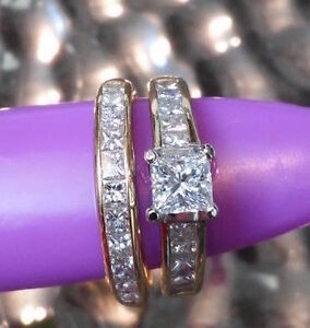 Diamond & Yellow Gold Engagement Ring and Wedding Band Set