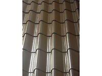 Tile effect roof sheets, vandyke brown plastic coated