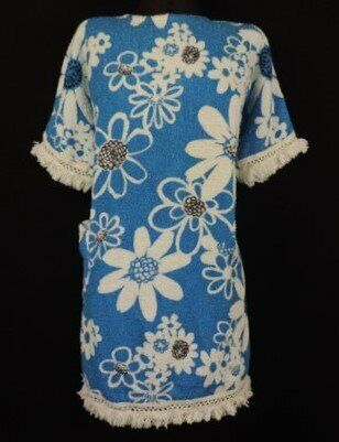 be51f8cb9f VINTAGE 1960 TERRY TOWELLING BEACH DRESS FRINGE CLOTH FLOWER POWER 100% Cotton  BLUE White Black MOD
