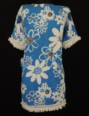 VINTAGE 1960 TERRY TOWELLING BEACH DRESS FRINGE CLOTH FLOWER POWER 100%  Cotton BLUE White Black MOD 784be9772