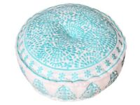 Bombay Duck - Nomad Embroidered Linen Pouff / Stool - Brand New!