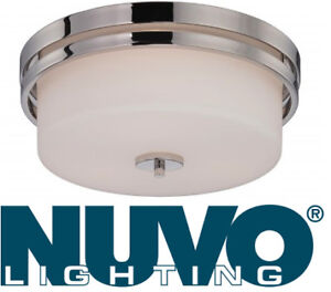 NEW Nuvo Lighting Flush Dome Etched Opal Glass Polished Nickel