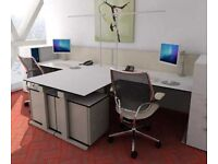 Techo Large White and Silver Desk