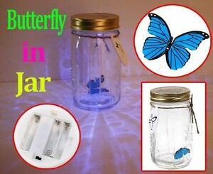 REALISTIC (FAKE) BUTTERFLY IN A ILLUMINATING JAR Cambridge Kitchener Area image 1