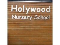 Blue sweatshirt (Holywood Nursery School logo), size 24, only worn few times, bargain £3.00