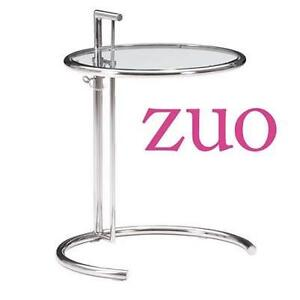 NEW ZUO CLEAR GLASS SIDE TABLE EILEEN - CHROMED STEEL TUBE FRAME - ADJUSTABLE HEIGHT 103620407