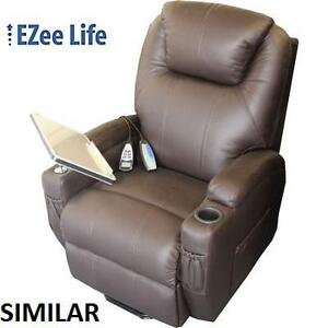 NEW EZEE LIFE LEATHER LIFT CHAIR - 120911891 - WITH CUP HOLDERS AND TRAY