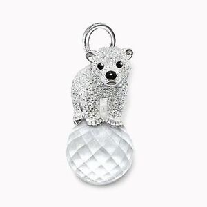 Adorable Sterling Polar Bear Crystal Pendant