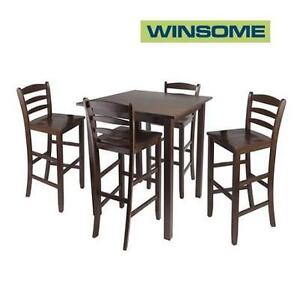 NEW WINSOME 5PC TABLE + STOOLS SET - 119527927 - HIGH TABLE AND 4 LADDER BACK BARSTOOLS WALNUT FINISH