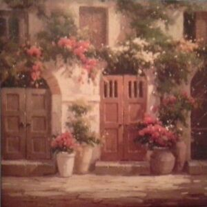 Wall hanging on canvas of house and flowers