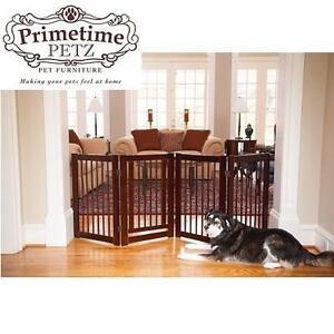 NEW PP FOLDING PET GATE PRIMETIME PETZ - 360 DEGREE Z CONFIGURABLE GATE - WALNUT FINISH 104088660