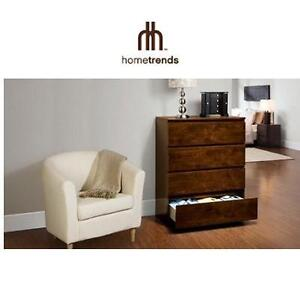 "NEW HOMETRENDS 4-DRAWER CHEST 4-DRAWER CHEST, WALNUT FINISH - 40""x16""x31.5"" - BEDROOM FURNITURE DRAWERS DECOR 95833170"