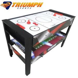 NEW TRIUMPH 4 IN 1 GAME TABLE 45-6730 143856574 ROTATING AIRHOCKEY TABLE TENNIS POOL LAUNCH FOOTBALL