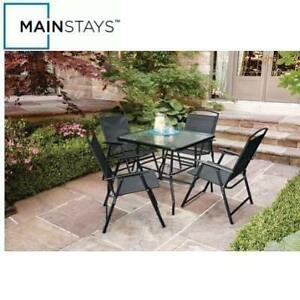 NEW MAINSTAYS 5PC DINING SET FDS50285PST 200423975 CRANSTON 4 CHAIRS 1 TABLE PATIO FURNITURE