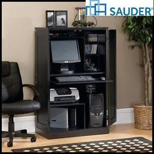 "NEW SAUDER COMPUTER ARMOIRE - 108851340 - EBONY ASH FINISH - 31.496"" x 19.449"" x 51.89"""