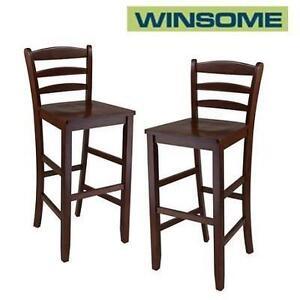 2 NEW WINSOME BAR STOOLS - 110588294 - 29'' LADDER BACK BAR STOOLS - ANTIQUE WALNUT FINISH