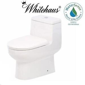 NEW WHITEHAUS MAGIC FLUSH TOILET - 114644691 - MAGIC FLUSH 1-PIECE 1.6/0.8 GPF DUAL FLUSH ELONGATED TOILET - WHITE