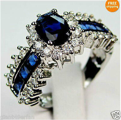 BEAUTIFUL BLUE SAPPHIRE 10KT WHITE GOLD LADIES RING SIZE 8 on Rummage