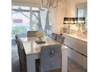 White Gloss Italian designer Dining Table - extendable (cost £550