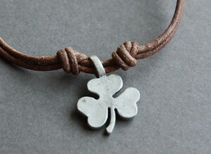 NEW-Leather-Clover-Metal-Pendant-Necklace-Handmade-Surfer ...