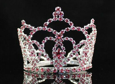 MINI HEART PINK AUSTRIAN RHINESTONE CRYSTAL FULL HAIR CROWN TIARA BRIDAL M289P