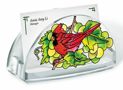 Grapevine Cardinal Business Card Holder Acrylic New Grapes Red Bird